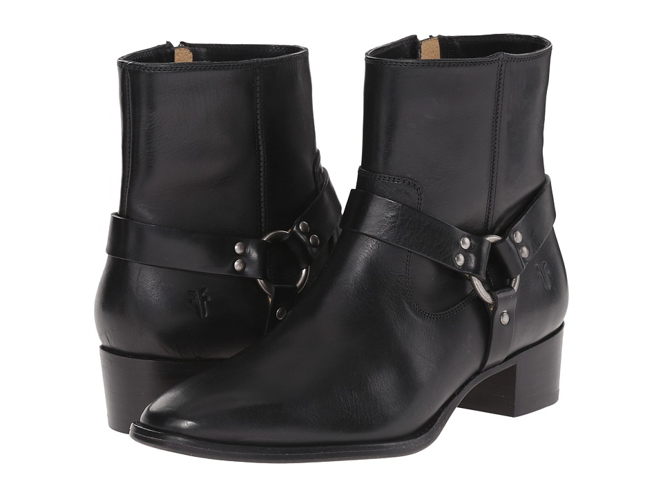 Frye - Dara Harness Short (Black Smooth Polished Veg) Women's Zip Boots