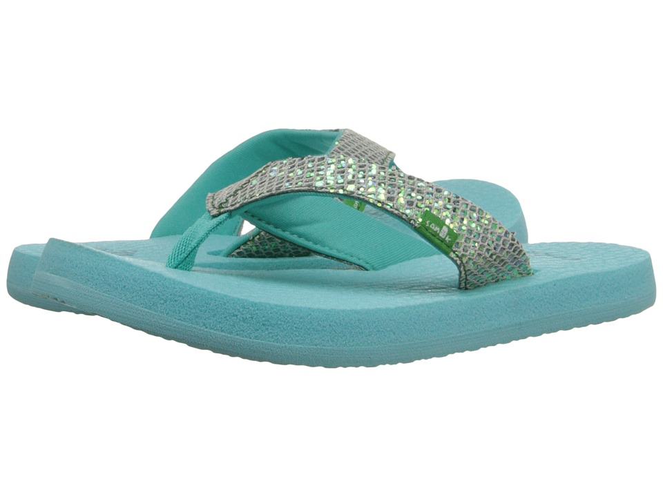 Sanuk Kids - Yoga Glitter (Little Kid/Big Kid) (Turquoise/Light Turquoise) Girls Shoes