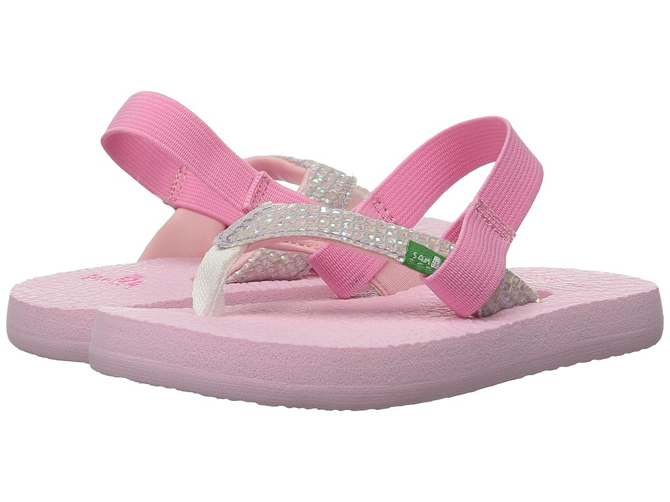 Sanuk Kids - Yoga Glitter (Toddler/Little Kid) (White/Light Pink) Girls Shoes