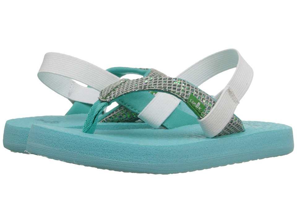 Sanuk Kids - Yoga Glitter (Toddler/Little Kid) (Turquoise/Light Turquoise) Girls Shoes