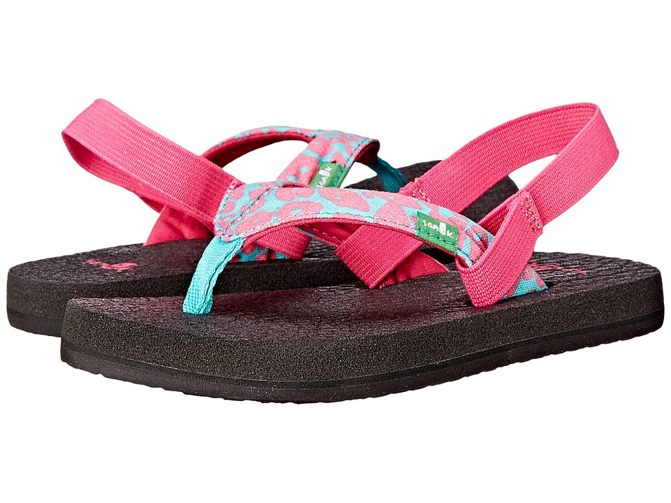Sanuk Kids - Yoga Wildlife (Toddler/Little Kid) (Pink/Turquoise Cheetah) Girls Shoes