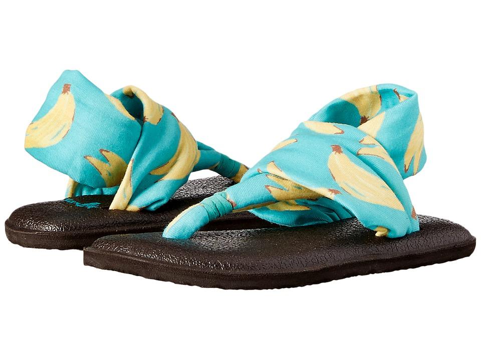 Sanuk Kids Yoga Sling Burst Prints (Toddler/Little Kid) (Turquoise Bananas) Girls Shoes