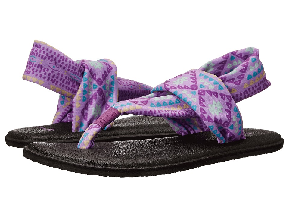 Sanuk Kids - Yoga Sling Burst Prints (Little Kid/Big Kid) (Hot Orchid Geo Pop) Girls Shoes