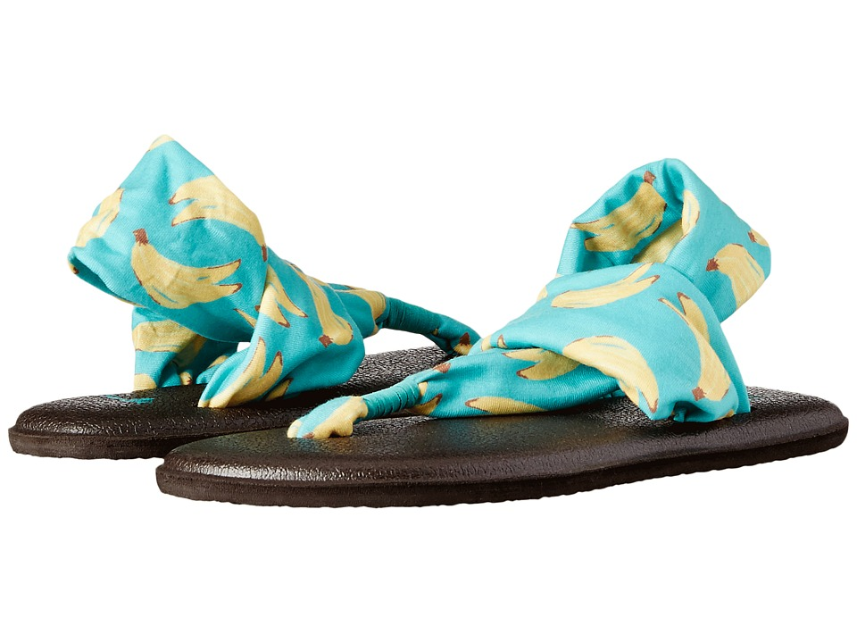 Sanuk Kids - Yoga Sling Burst Prints (Little Kid/Big Kid) (Turquoise Bananas) Girls Shoes