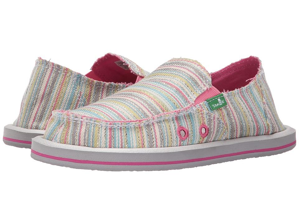 Sanuk Kids - Donna (Little Kid/Big Kid) (Aqua/Pink Stripe) Girls Shoes