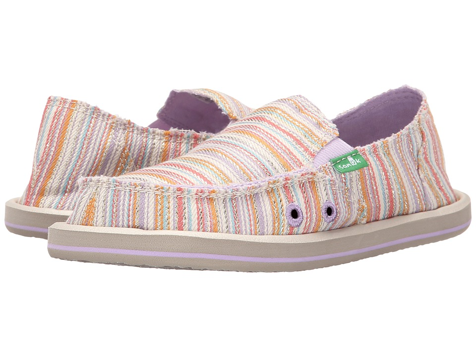 Sanuk Kids - Donna (Little Kid/Big Kid) (Purple/Orange Stripe) Girls Shoes
