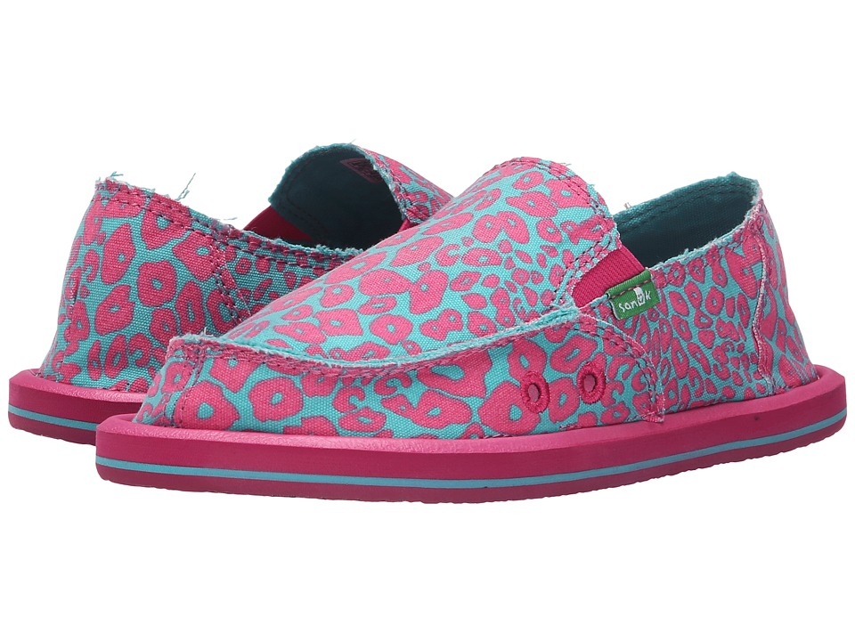 Sanuk Kids - I'm Game (Little Kid/Big Kid) (Pink/Turquoise Cheetah) Girls Shoes