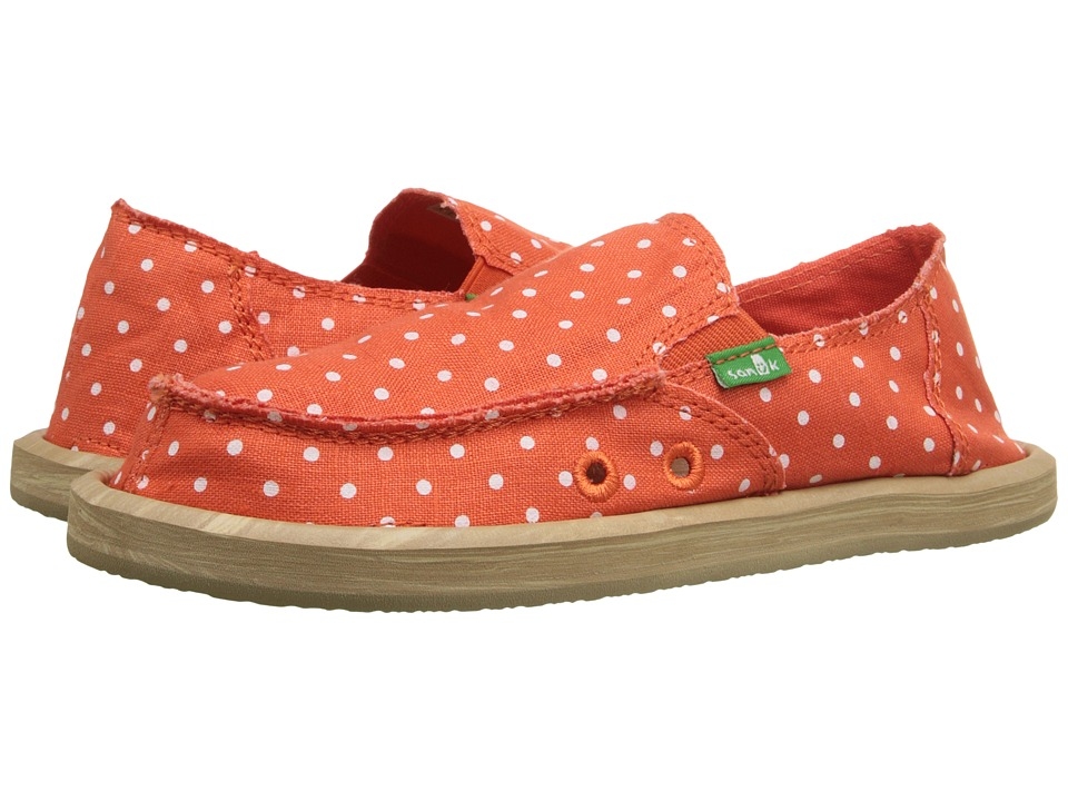 Sanuk Kids - Hot Dotty (Little Kid/Big Kid) (Flame/Natural Dots) Girls Shoes