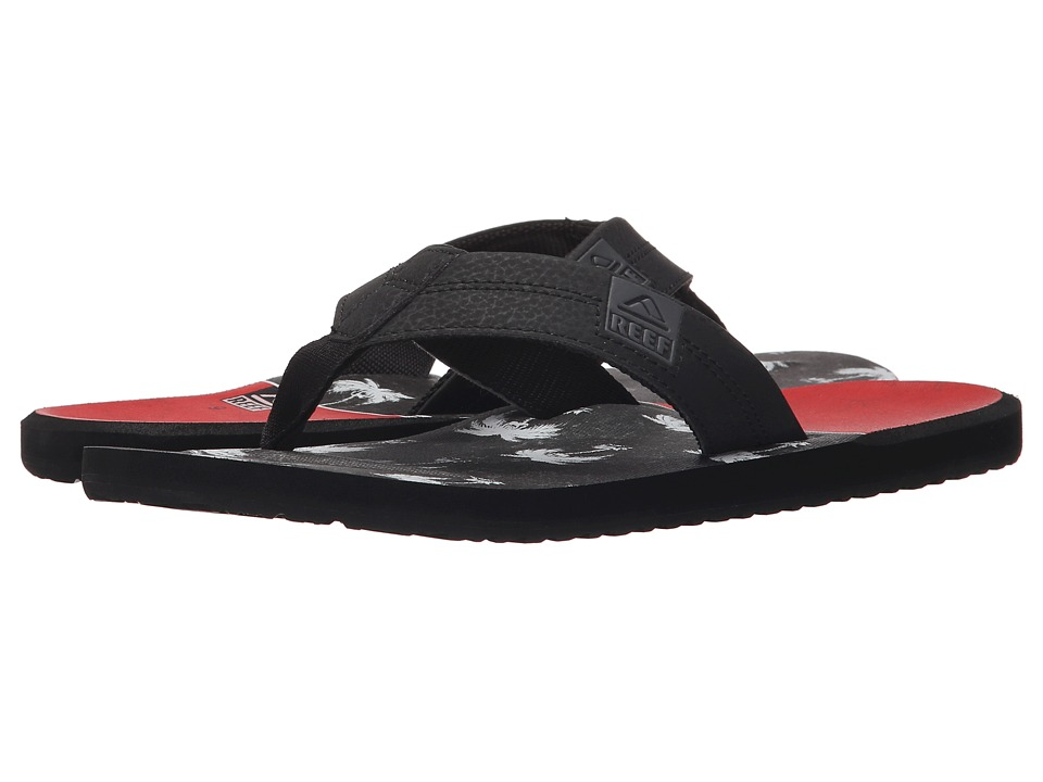 Reef - HT Prints (Red/Black Palm) Men's Sandals