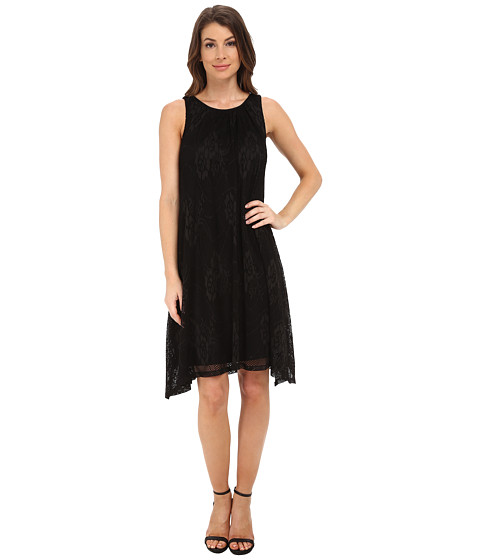 London Times - A-Line Hanky Hem Tank Dress (Black) Women's Dress