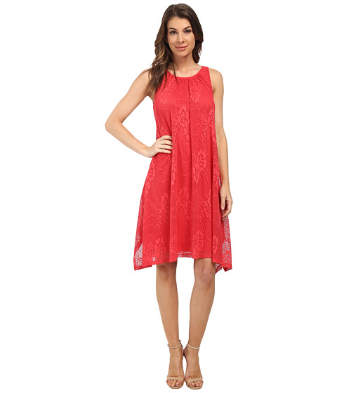 London Times - A-Line Hanky Hem Tank Dress (Coral) Women