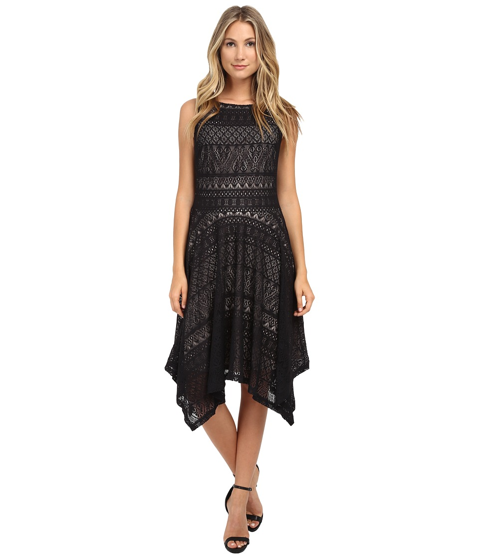 London Times - Hanky Hem Lace Tank Dress (Black/Nude) Women's Dress