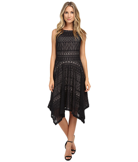 London Times - Hanky Hem Lace Tank Dress (Black/Nude) Women