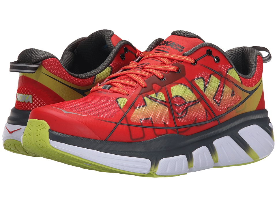 Hoka One One - Infinite (Poppy Red/Acid) Men's Running Shoes