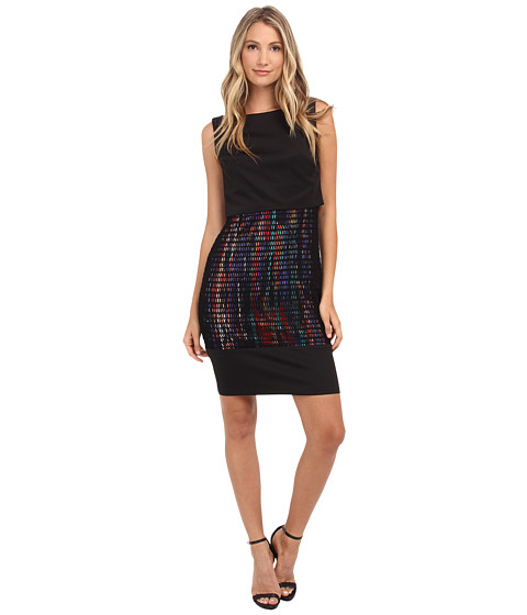 Sangria - Pop Over Print Skirt Sheath with Mesh (Black/Multi) Women's Dress