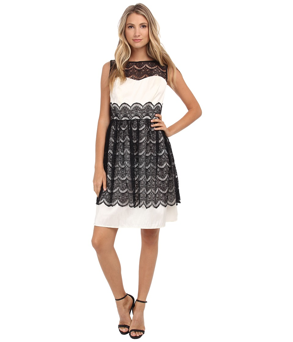Sangria - Contrast Lace and Lining Fit Flare (Ivory/Black) Women