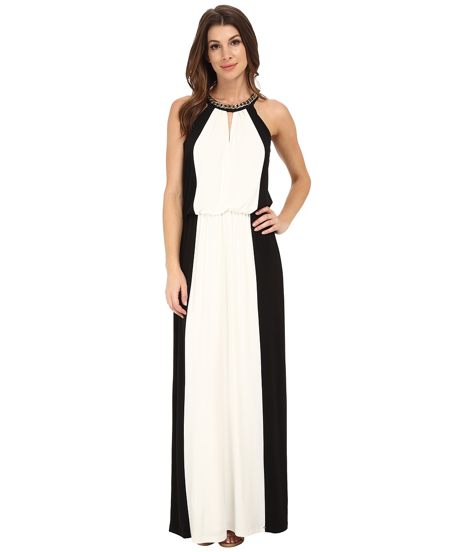 London Times - Maxi with Chain Necklace Halter (Black/White) Women's Dress