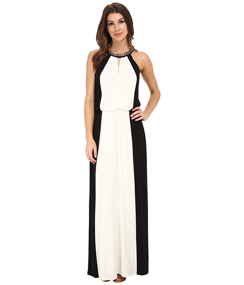 London Times - Maxi with Chain Necklace Halter (Black/White) Women