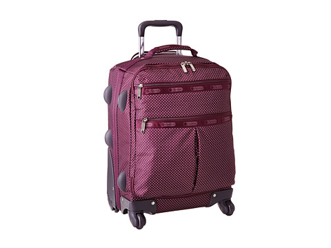 LeSportsac Luggage - 18 4 Wheeled Luggage (Burgundy Pin Dot Travel) Carry on Luggage