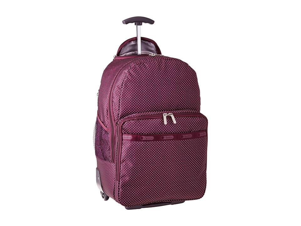 LeSportsac Luggage - Rolling Backpack (Burgundy Pin Dot Travel) Backpack Bags