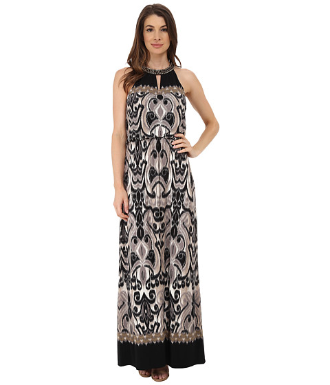 London Times - Chain Necklace Blouson Maxi (Black/Taupe) Women's Dress