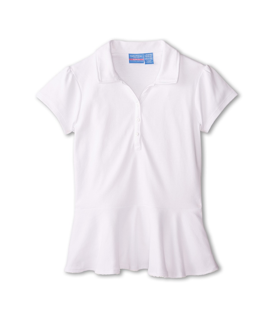 Nautica Kids - Short Sleeve Peplum Top (Big Kids) (White) Girl's Clothing