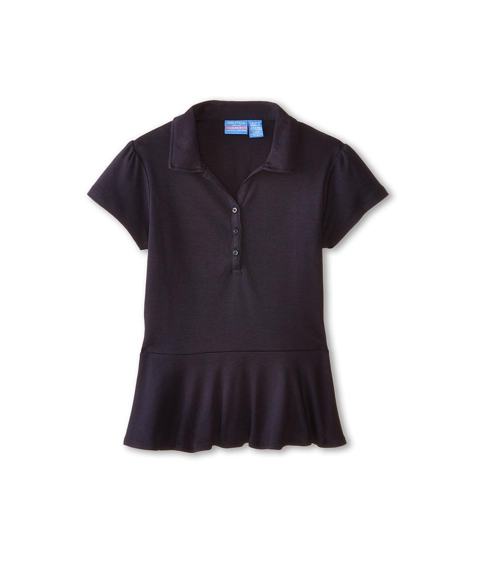 Nautica Kids - Short Sleeve Peplum Top (Big Kids) (Su Navy) Girl's Clothing
