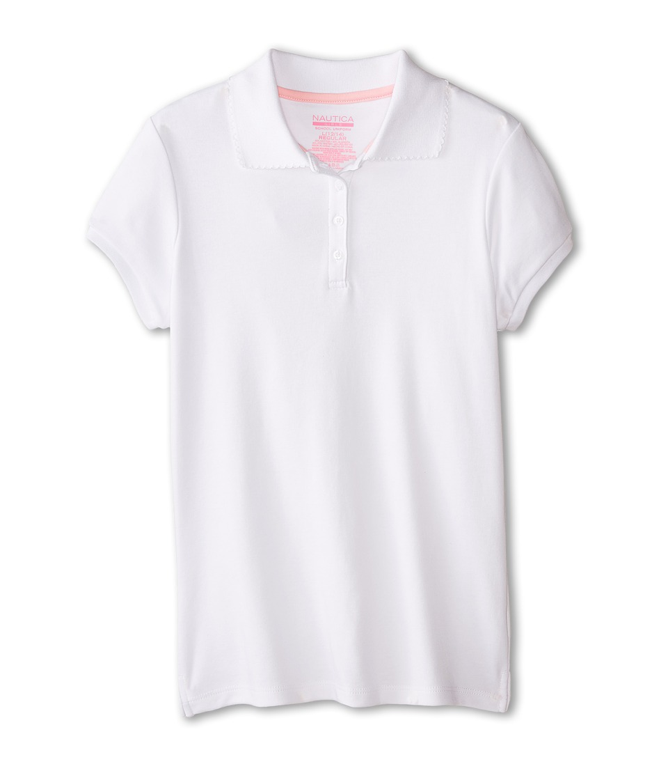 Nautica Kids - Short Sleeve Pique Polo (Big Kids) (White) Girl's Short Sleeve Pullover