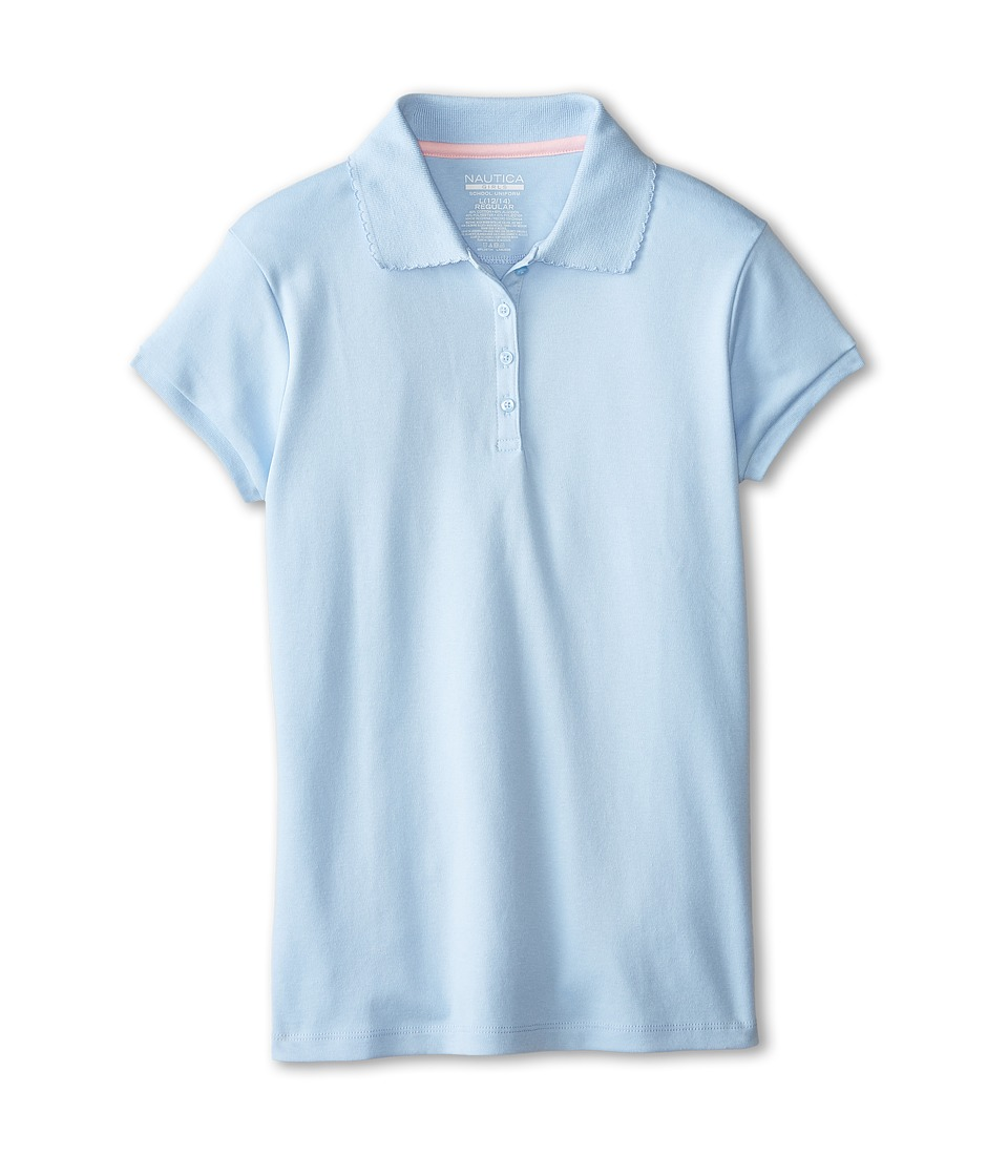 Nautica Kids - Short Sleeve Pique Polo (Big Kids) (Light Blue) Girl's Short Sleeve Pullover