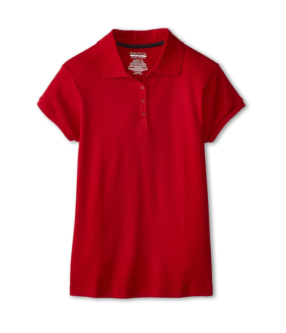 Nautica Kids - Short Sleeve Pique Polo (Big Kids) (Red) Girl's Short Sleeve Pullover