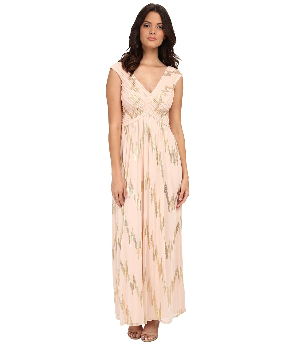 Sangria - V-Neck Foil Gown (Gold) Women