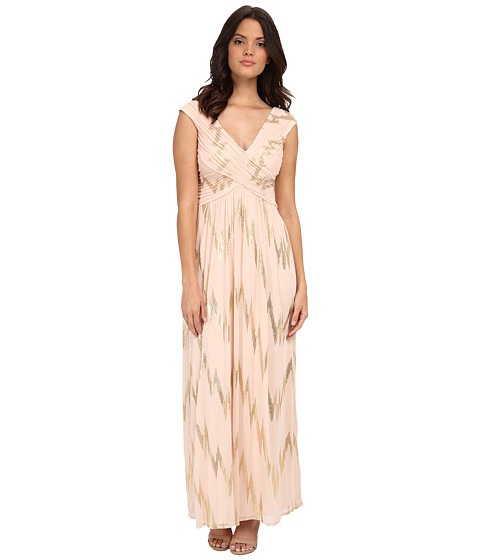 Sangria - V-Neck Foil Gown (Gold) Women's Dress