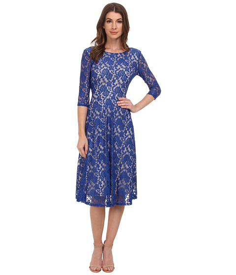 Sangria - 3/4 Sleeve All Over Lace High-Low Hem Fit Flare (Royal/Putty) Women's Dress
