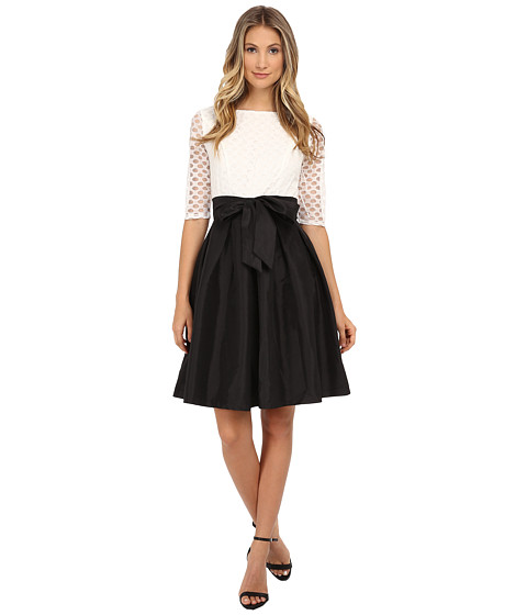 Sangria - 3/4 Sleeve Polka Dot Lace Fit Flare with Bow Belt (Black/Ivory) Women