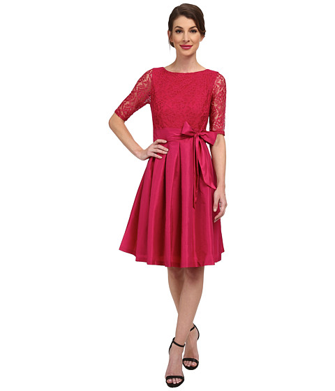Sangria - 3/4 Sleeve Lace Bodice Fit Flare with Bow Belt (Cerise) Women's Dress