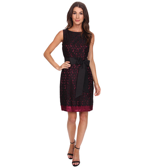 Sangria - Lace Shift with Contrast Lace and Bow Belt (Black/Cabernet) Women's Dress