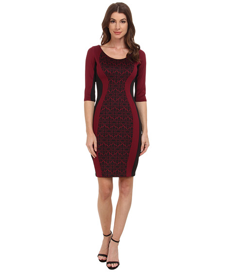 Sangria - 3/4 Sleeve Medallion Insert Scuba Sheath (Black/Cabernet) Women's Dress