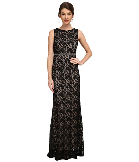 Sangria - All Over Lace Gown with Beaded Waist (Black/Stone) Women's Dress