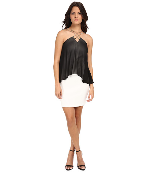 Sangria - Chiffon Pop Over Sheath with Chain Neck Detail (Black/Ivory) Women's Dress