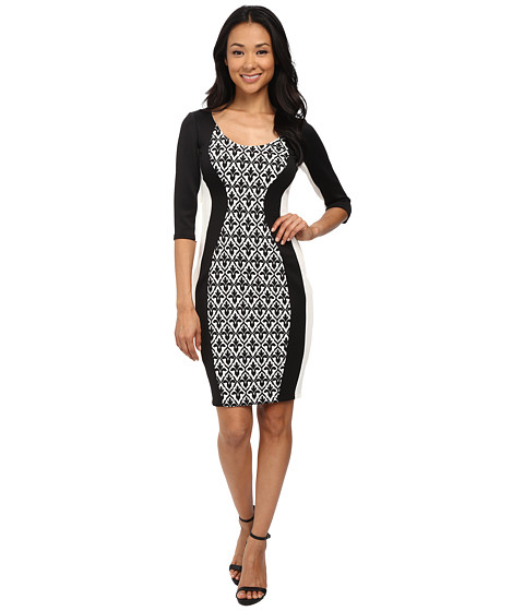 Sangria - 3/4 Sleeve Textured Knit Medallion Insert Sheath (Black/Ivory) Women