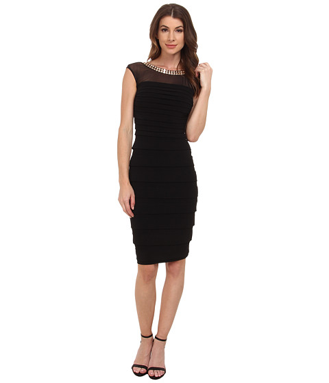 Sangria - Embellished Neck Shutter Pleat Sheath (Black) Women's Dress