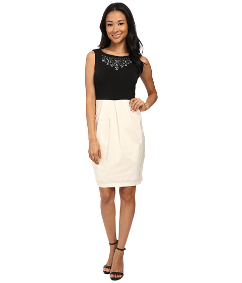 Sangria - Embellished Neck Tulip Hem Sheath (Ivory/Black) Women