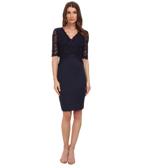 Sangria - Elbow Sleeve V-Neck Lace Bodice Sheath (Navy) Women