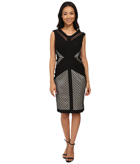 Sangria - V-Neck Lace and Shutter Pleat Sheath (Black/Nude) Women's Dress