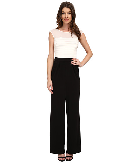 Sangria - Shutter Pleat Bodice Jumpsuit (Ivory/Black) Women