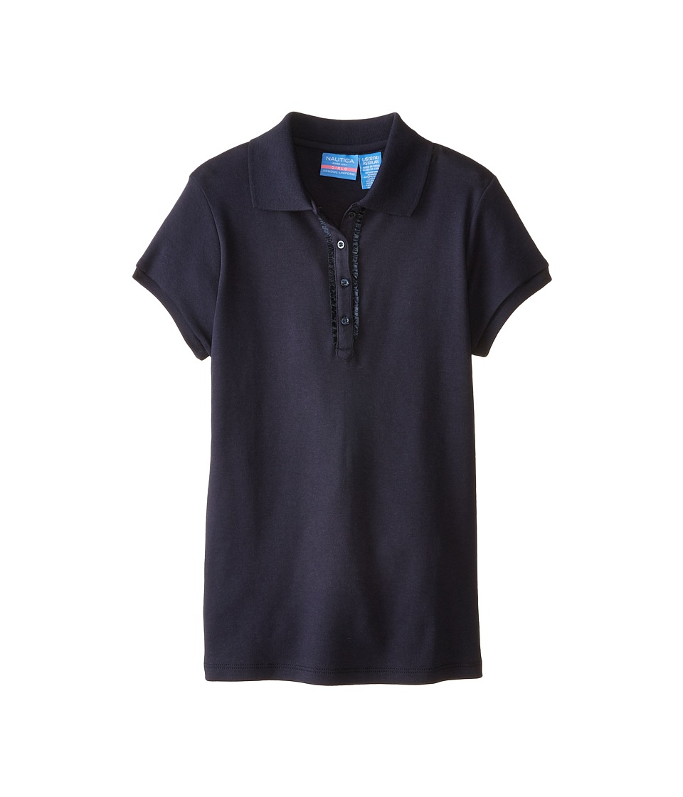 Nautica Kids - Polo with Ruffle Bow Sleeve (Big Kids) (Su Navy) Girl's Clothing