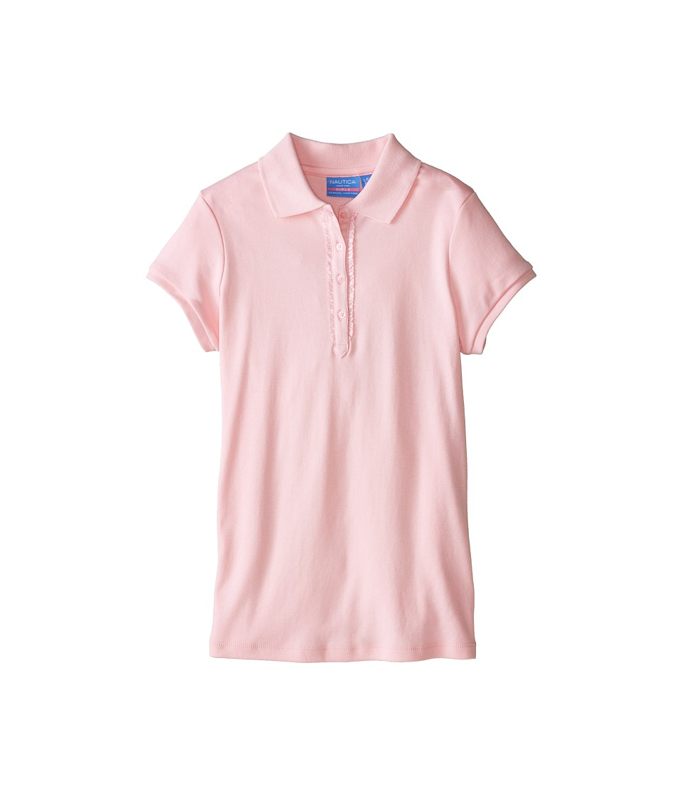 Nautica Kids - Polo with Ruffle Bow Sleeve (Big Kids) (Light Pink) Girl's Clothing