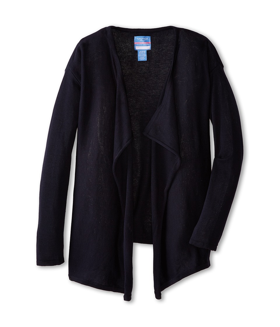 Nautica Kids - Drape Front Cardigan (Big Kids) (Su Navy) Girl's Sweater