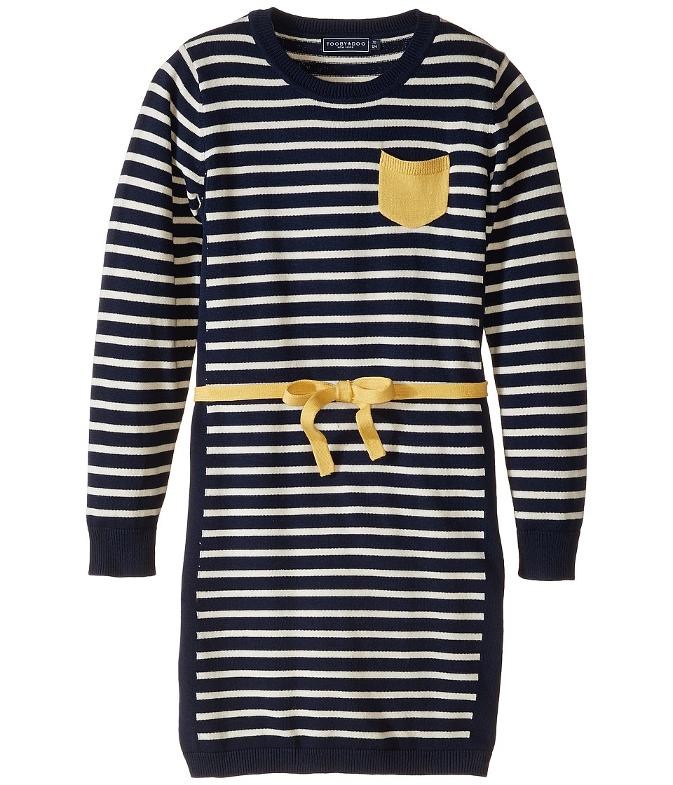 Toobydoo - The Millie Belted Dress (Toddler/Little Kids/Big Kids) (Navy/Yellow) Girl