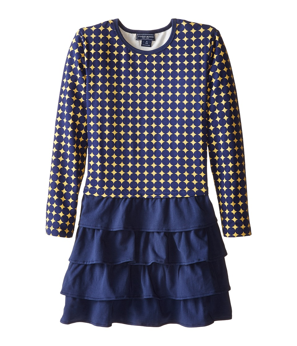 Toobydoo - The Paloma Ruffle Dress (Toddler/Little Kids/Big Kids) (Yellow/Navy) Girl